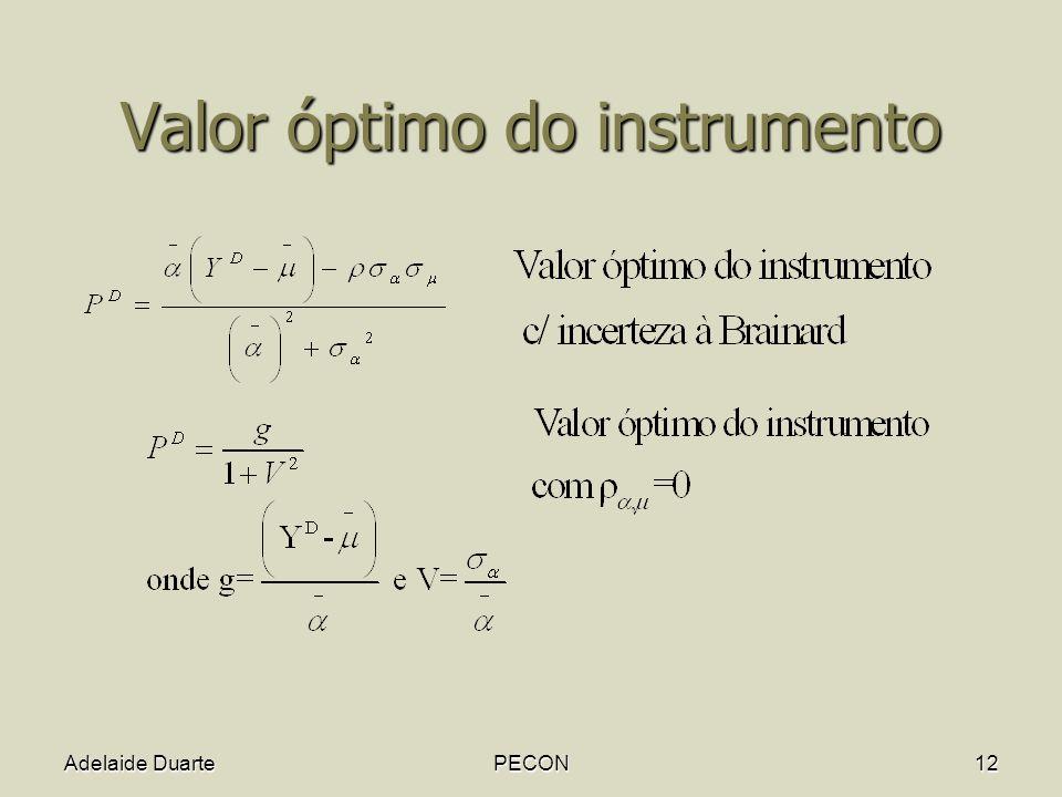 Adelaide DuartePECON12 Valor óptimo do instrumento