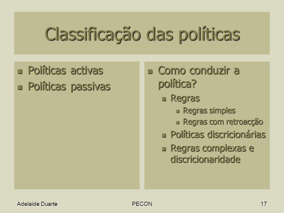 Adelaide DuartePECON17 Classificação das políticas Políticas activas Políticas activas Políticas passivas Políticas passivas Como conduzir a política.