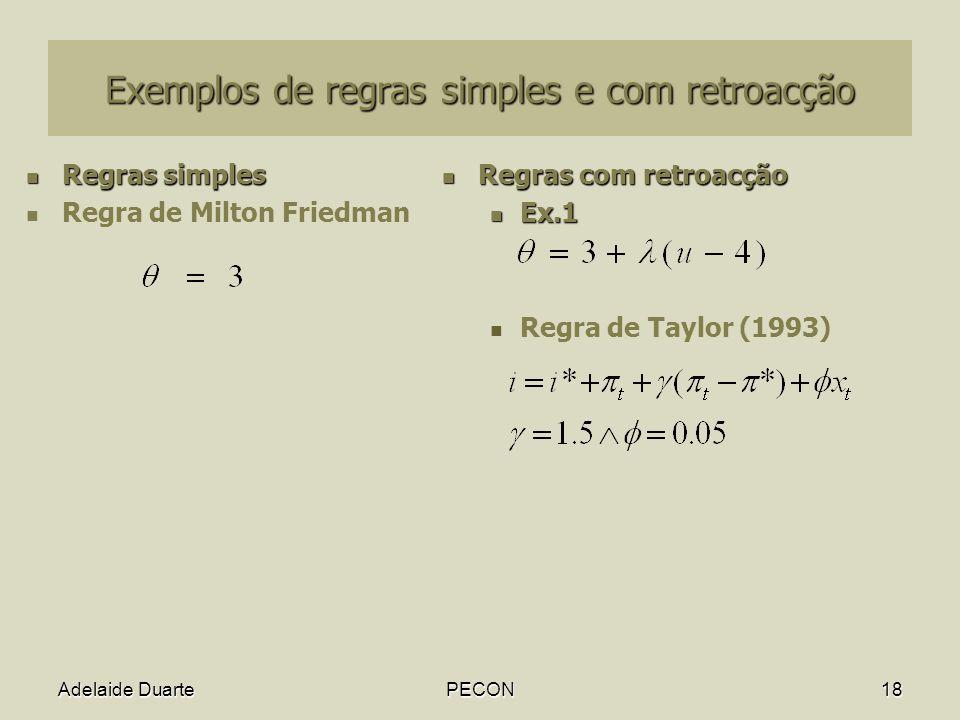 Adelaide DuartePECON18 Exemplos de regras simples e com retroacção Regras simples Regras simples Regra de Milton Friedman Regras com retroacção Regras com retroacção Ex.1 Ex.1 Regra de Taylor (1993)