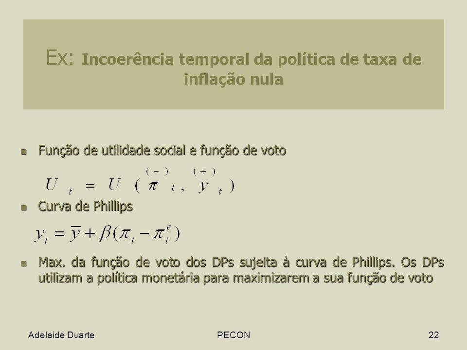 Adelaide DuartePECON22 Ex: Incoerência temporal da política de taxa de inflação nula Função de utilidade social e função de voto Função de utilidade social e função de voto Curva de Phillips Curva de Phillips Max.