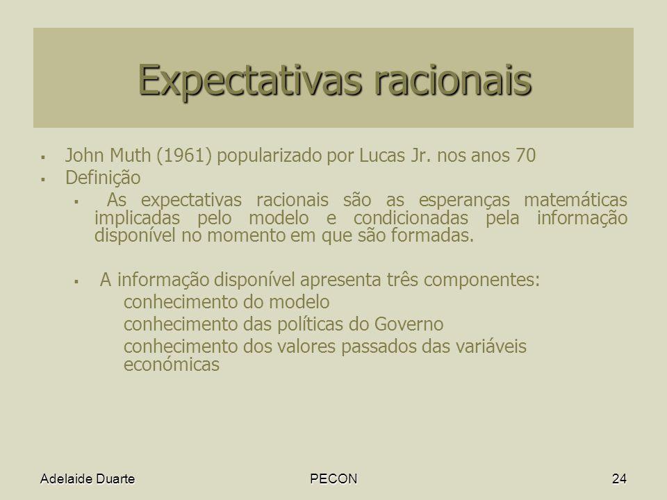 Adelaide DuartePECON24 Expectativas racionais John Muth (1961) popularizado por Lucas Jr.