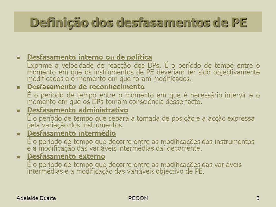 Adelaide DuartePECON5 Definição dos desfasamentos de PE Desfasamento interno ou de política Exprime a velocidade de reacção dos DPs.