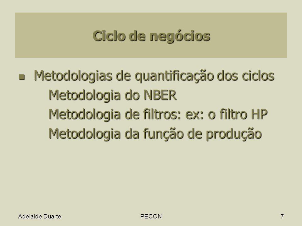 Adelaide DuartePECON7 Ciclo de negócios Metodologias de quantificação dos ciclos Metodologias de quantificação dos ciclos Metodologia do NBER Metodologia de filtros: ex: o filtro HP Metodologia da função de produção