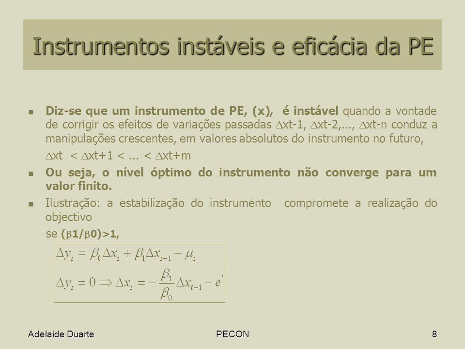 Adelaide DuartePECON8 Instrumentos instáveis e eficácia da PE Diz-se que um instrumento de PE, (x), é instável quando a vontade de corrigir os efeitos de variações passadas xt-1, xt-2,..., xt-n conduz a manipulações crescentes, em valores absolutos do instrumento no futuro, xt < xt+1 <...
