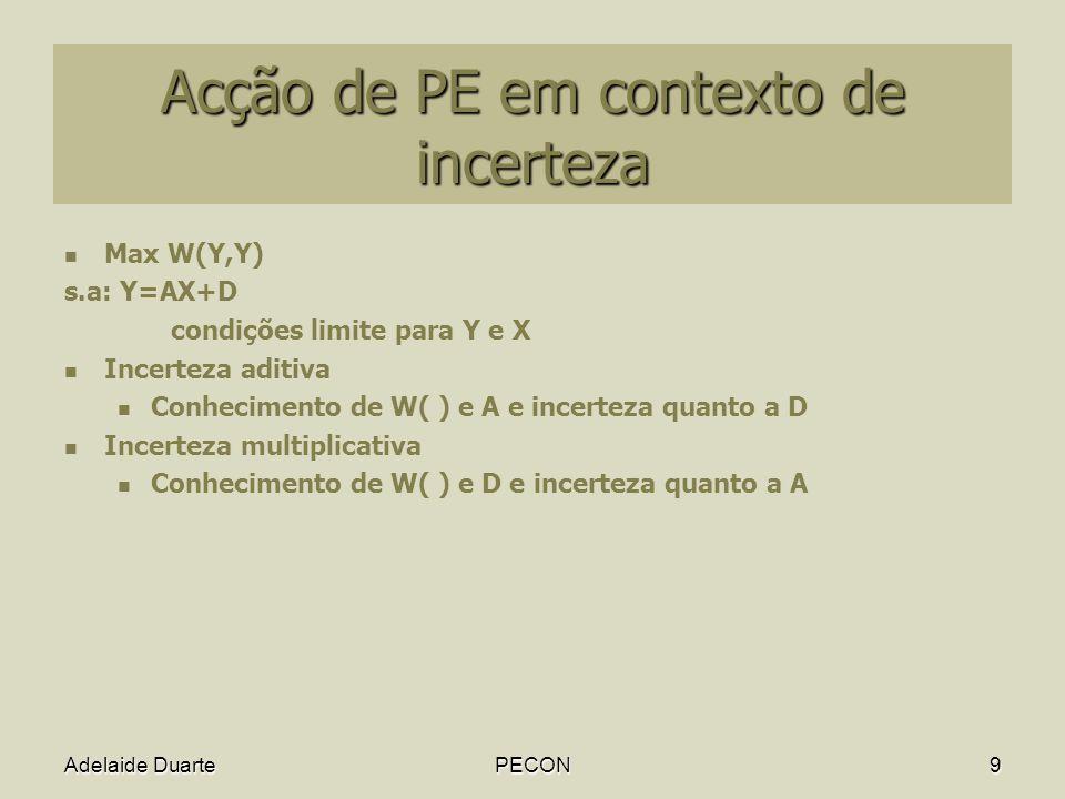 Adelaide DuartePECON9 Acção de PE em contexto de incerteza Max W(Y,Y) s.a: Y=AX+D condições limite para Y e X Incerteza aditiva Conhecimento de W( ) e A e incerteza quanto a D Incerteza multiplicativa Conhecimento de W( ) e D e incerteza quanto a A