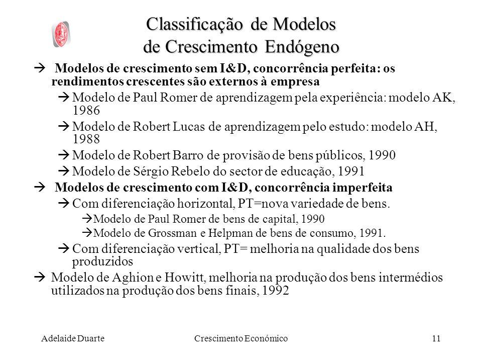 Adelaide DuarteCrescimento Económico11 Classificação de Modelos de Crescimento Endógeno Modelos de crescimento sem I&D, concorrência perfeita: os rend
