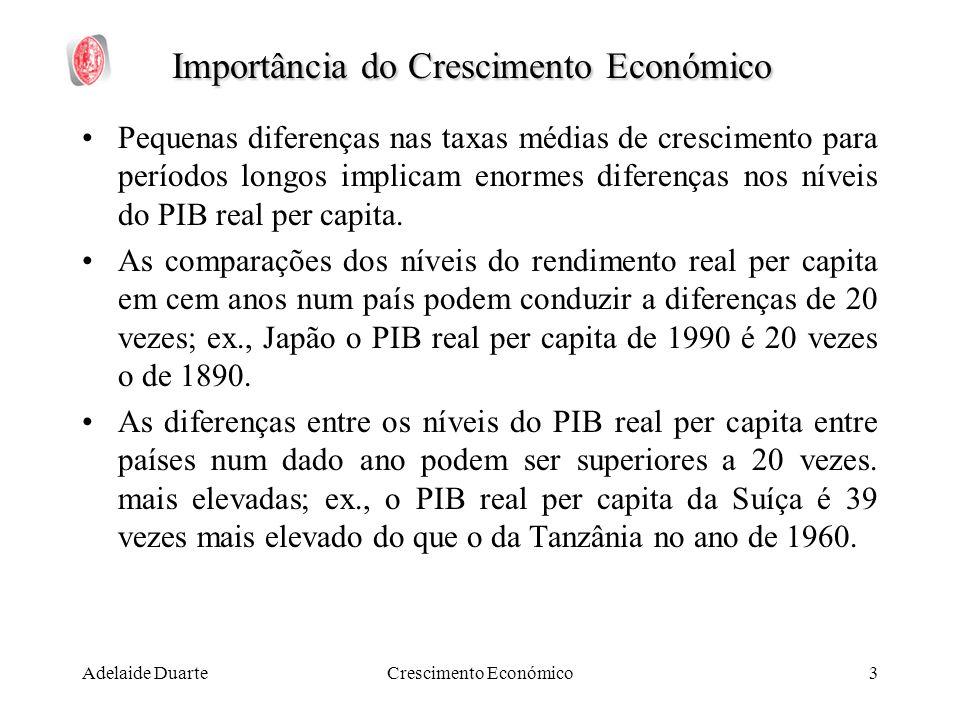 Adelaide DuarteCrescimento Económico3 Importância do Crescimento Económico Pequenas diferenças nas taxas médias de crescimento para períodos longos im