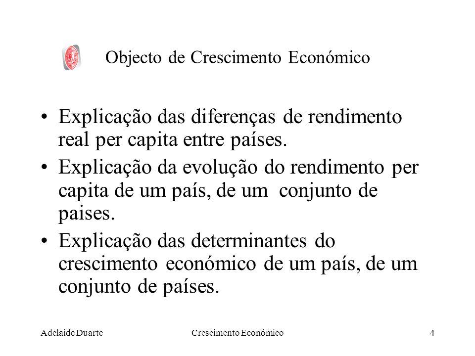 Adelaide DuarteCrescimento Económico4 Objecto de Crescimento Económico Explicação das diferenças de rendimento real per capita entre países. Explicaçã