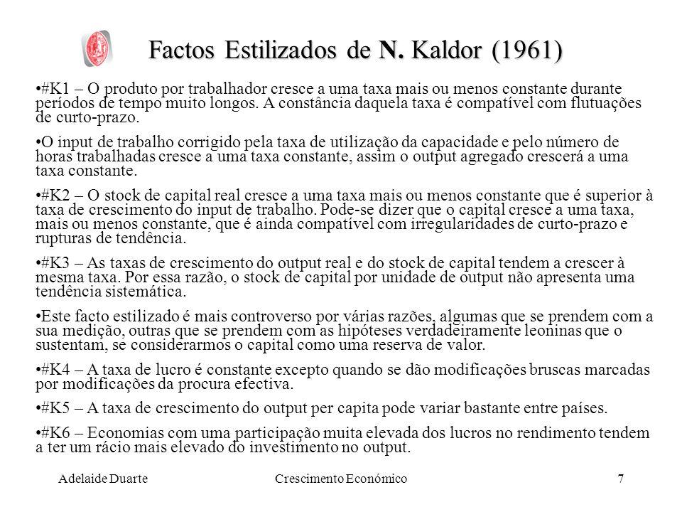 Adelaide DuarteCrescimento Económico7 Factos Estilizados de N. Kaldor (1961) #K1 – O produto por trabalhador cresce a uma taxa mais ou menos constante