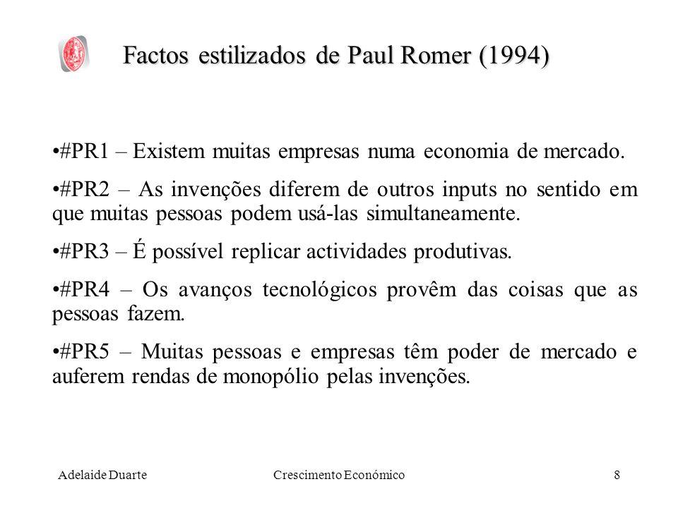 Adelaide DuarteCrescimento Económico8 Factos estilizados de Paul Romer (1994) #PR1 – Existem muitas empresas numa economia de mercado. #PR2 – As inven