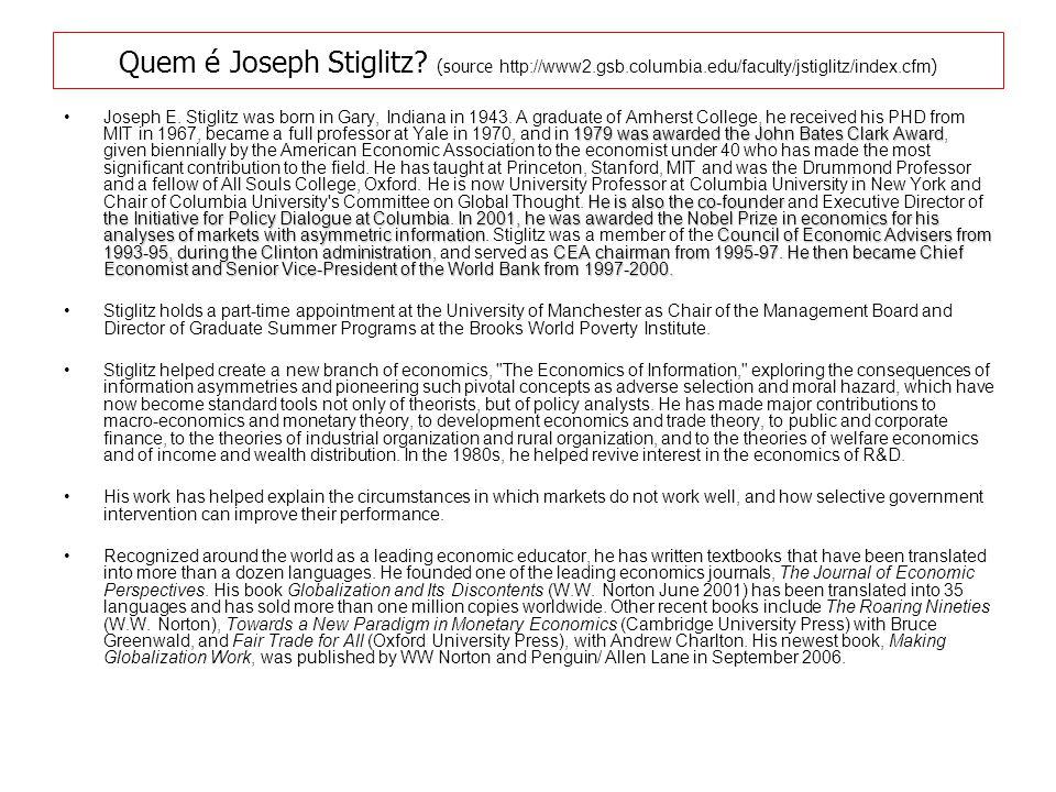 Quem é Joseph Stiglitz.