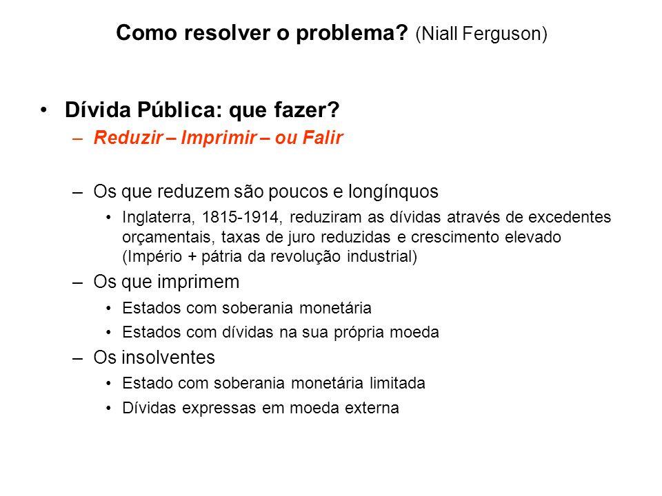 Como resolver o problema? (Niall Ferguson) Dívida Pública: que fazer? –Reduzir – Imprimir – ou Falir –Os que reduzem são poucos e longínquos Inglaterr