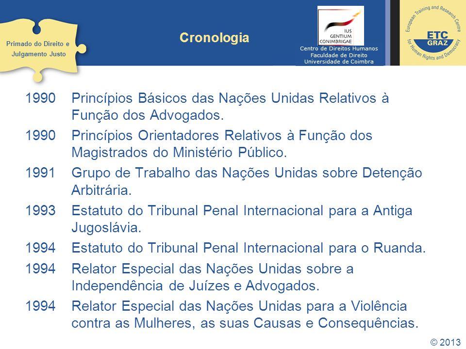 © 2013 Cronologia 1990Princípios Básicos das Nações Unidas Relativos à Função dos Advogados.