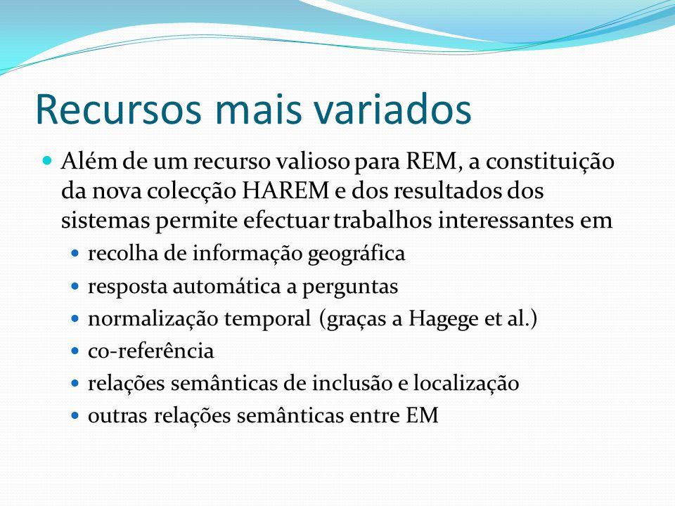 Recursos mais variados Além de um recurso valioso para REM, a constituição da nova colecção HAREM e dos resultados dos sistemas permite efectuar traba