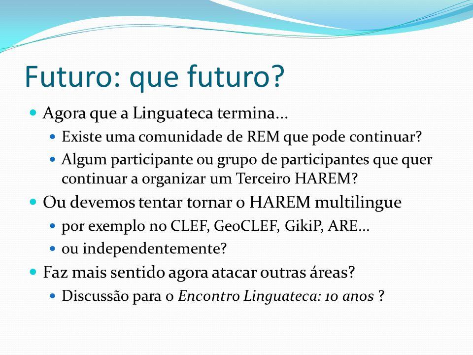 Futuro: que futuro? Agora que a Linguateca termina... Existe uma comunidade de REM que pode continuar? Algum participante ou grupo de participantes qu