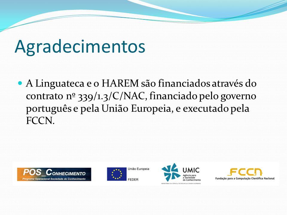 Agradecimentos A Linguateca e o HAREM são financiados através do contrato nº 339/1.3/C/NAC, financiado pelo governo português e pela União Europeia, e executado pela FCCN.