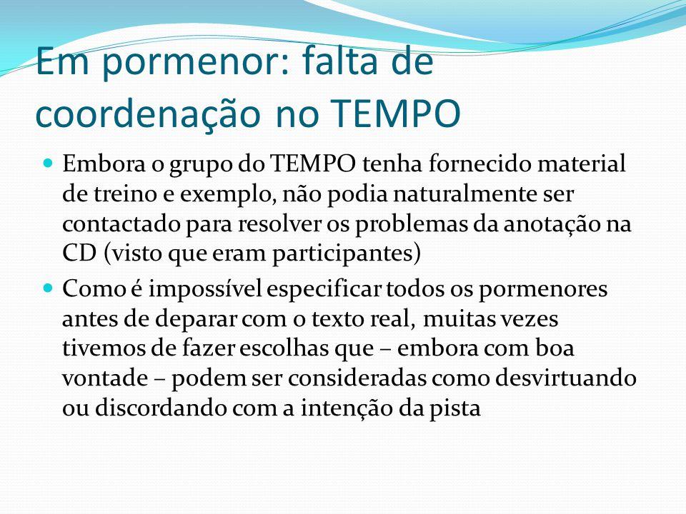 Em pormenor: falta de coordenação no TEMPO Embora o grupo do TEMPO tenha fornecido material de treino e exemplo, não podia naturalmente ser contactado