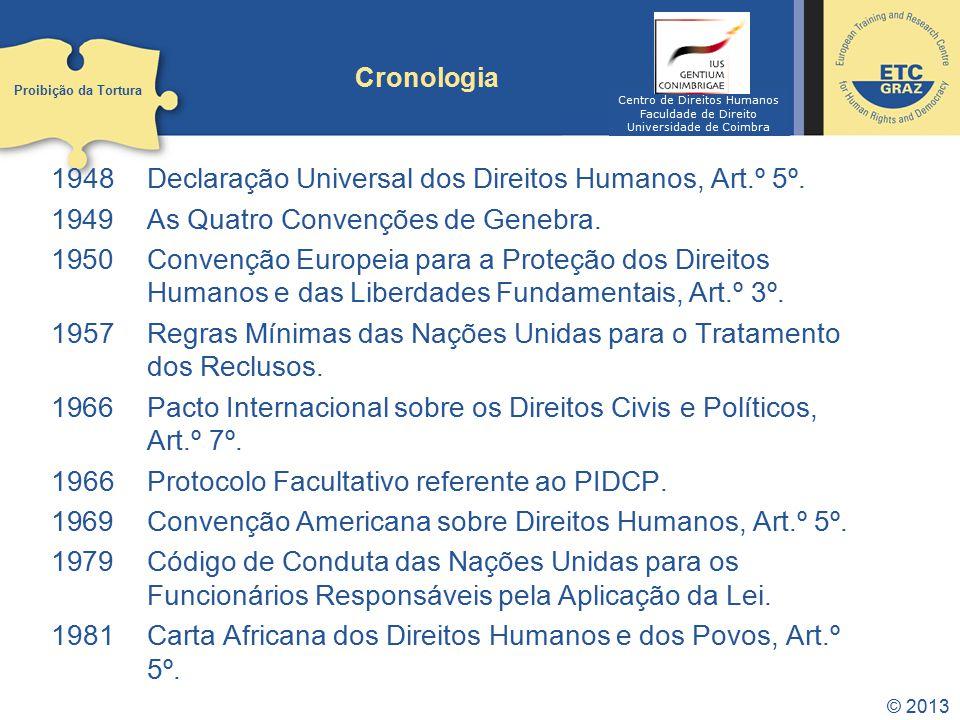 © 2013 Cronologia 1948Declaração Universal dos Direitos Humanos, Art.º 5º. 1949 As Quatro Convenções de Genebra. 1950 Convenção Europeia para a Proteç