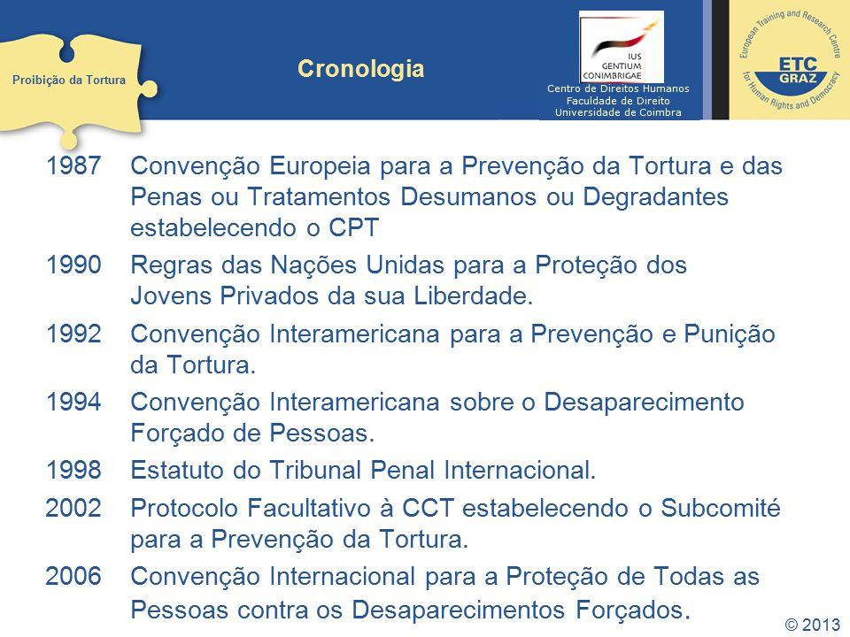 © 2013 1987Convenção Europeia para a Prevenção da Tortura e das Penas ou Tratamentos Desumanos ou Degradantes estabelecendo o CPT 1990Regras das Nações Unidas para a Proteção dos Jovens Privados da sua Liberdade.