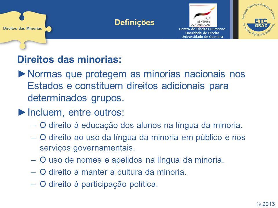 © 2013 Definições Direitos das minorias: Normas que protegem as minorias nacionais nos Estados e constituem direitos adicionais para determinados grup