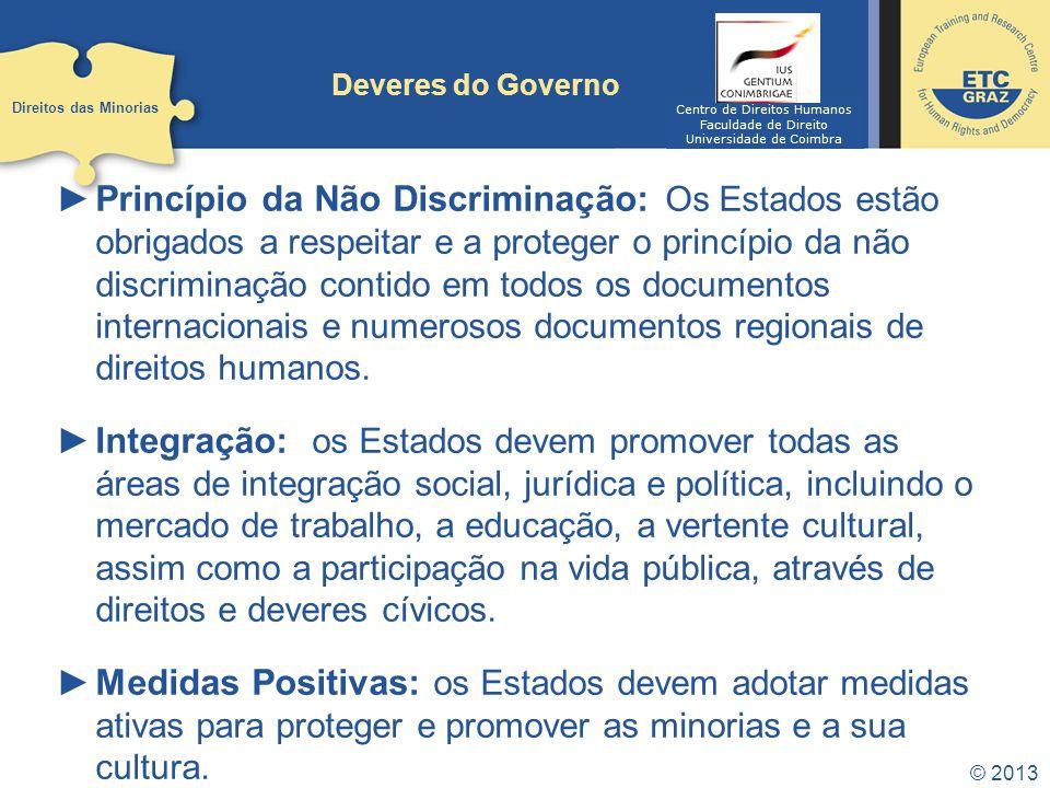 © 2013 Deveres do Governo Princípio da Não Discriminação: Os Estados estão obrigados a respeitar e a proteger o princípio da não discriminação contido em todos os documentos internacionais e numerosos documentos regionais de direitos humanos.
