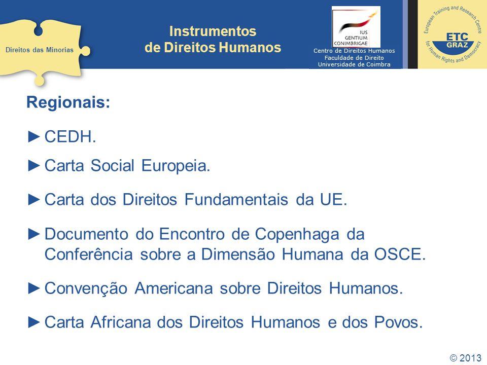 © 2013 Instrumentos de Direitos Humanos Regionais: CEDH. Carta Social Europeia. Carta dos Direitos Fundamentais da UE. Documento do Encontro de Copenh