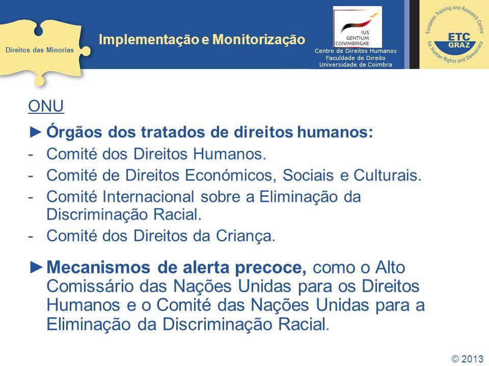 © 2013 Implementação e Monitorização ONU Órgãos dos tratados de direitos humanos: -Comité dos Direitos Humanos. -Comité de Direitos Económicos, Sociai