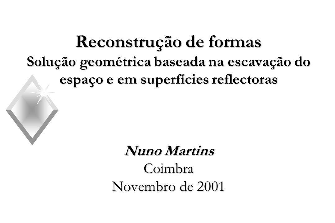 Reconstrução de formas Solução geométrica baseada na escavação do espaço e em superfícies reflectoras Nuno Martins Coimbra Novembro de 2001