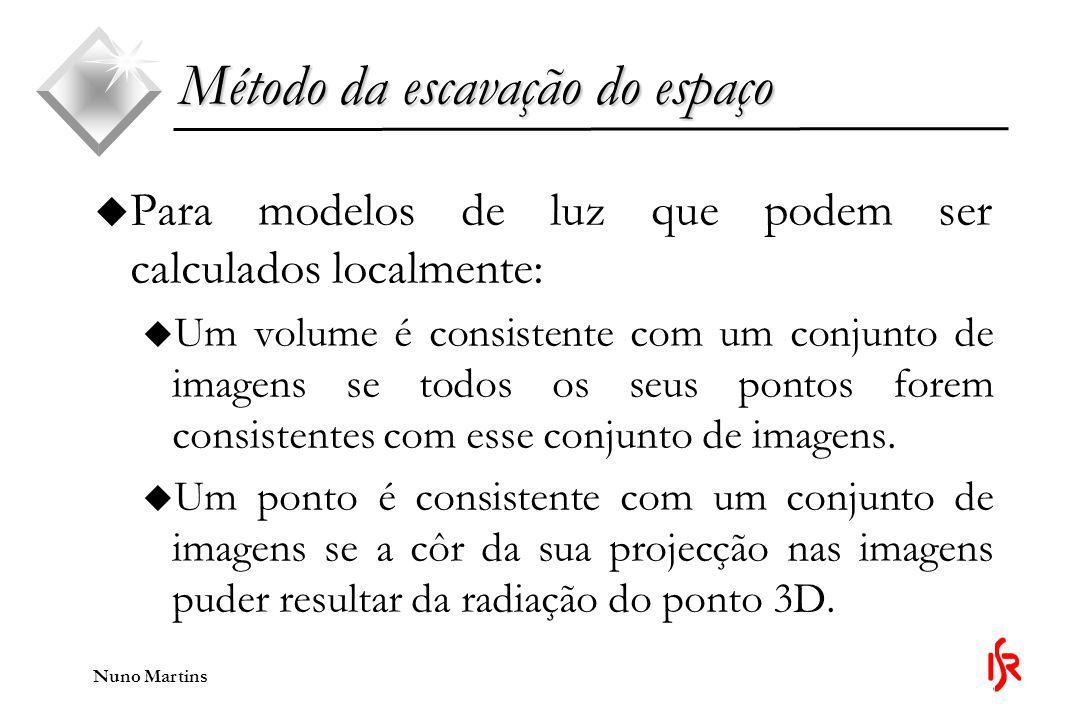Nuno Martins Método da escavação do espaço u Quando são usados modelos mais complexos, um volume tridimensional é consistente quanto à forma e quanto à radiação com um ponto na imagem se a côr do ponto da imagem puder resultar da forma do volume sob o modelo de luz corrente.