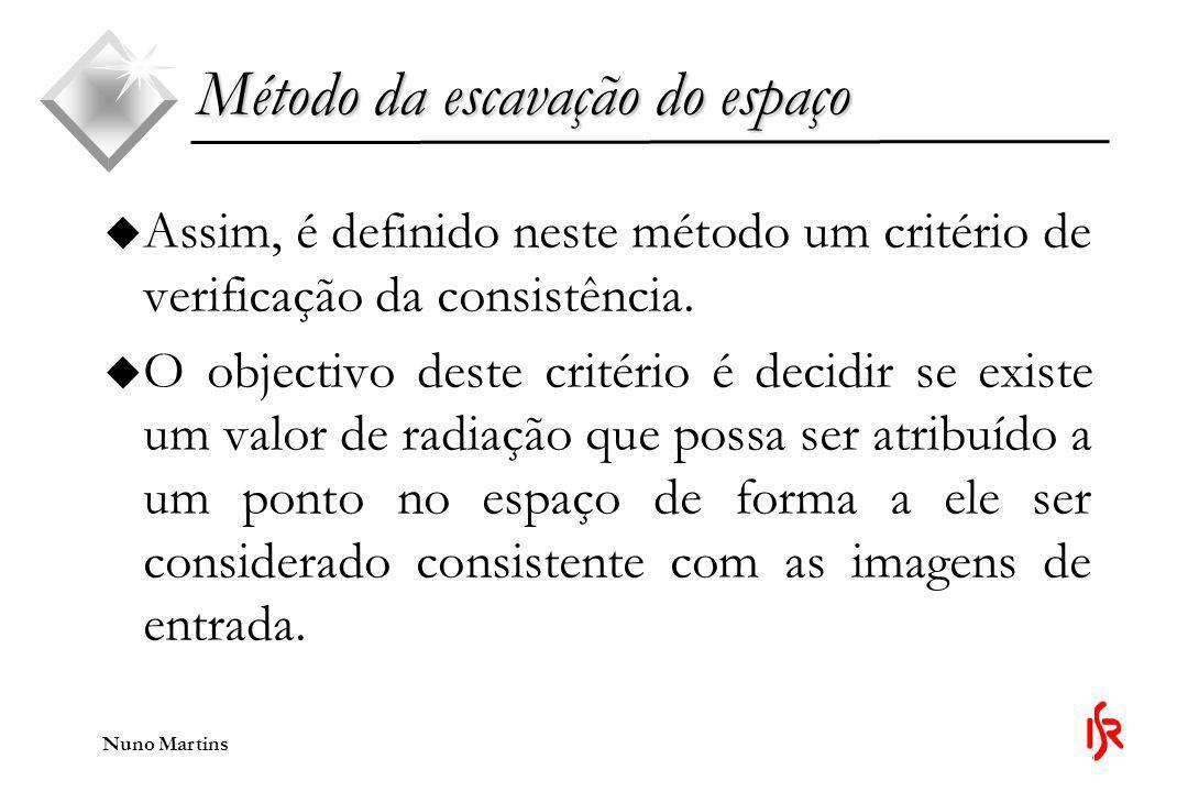 Nuno Martins Método da escavação do espaço u Resumindo, na fase de escavação faz-se: u O cálculo do critério de consistência para voxel (começando pelos exteriores e avançando para dentro).