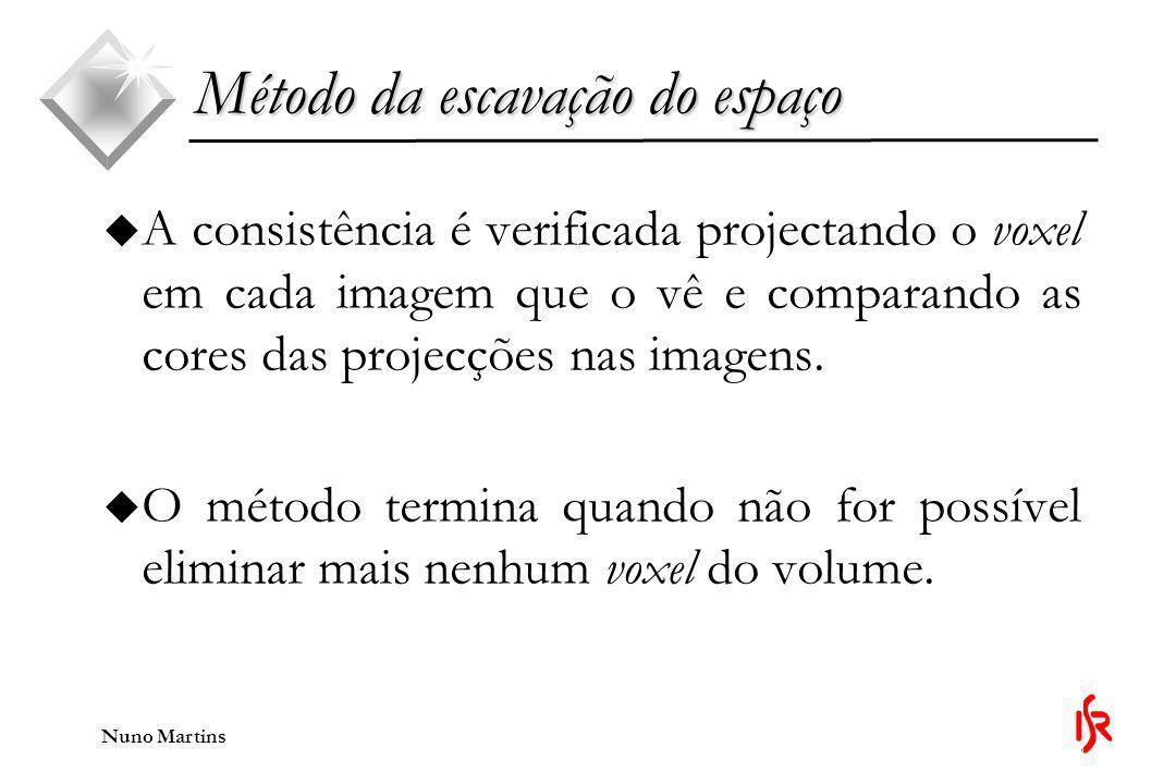 Nuno Martins Método da escavação do espaço u A consistência é verificada projectando o voxel em cada imagem que o vê e comparando as cores das projecções nas imagens.
