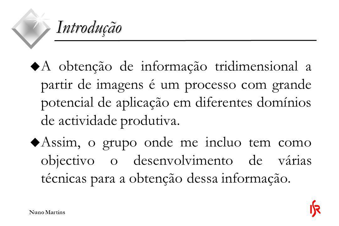Nuno Martins Introdução u É variada a informação tridimensional que se pode recolher das imagens.