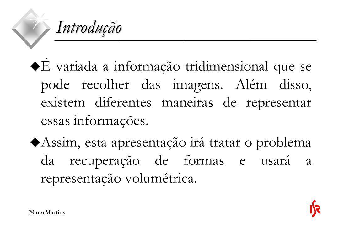 Nuno Martins Introdução u Na representação volumétrica a forma é dada por um conjunto discreto de primitivas básicas, conhecidas como voxels ou 3D pixels.