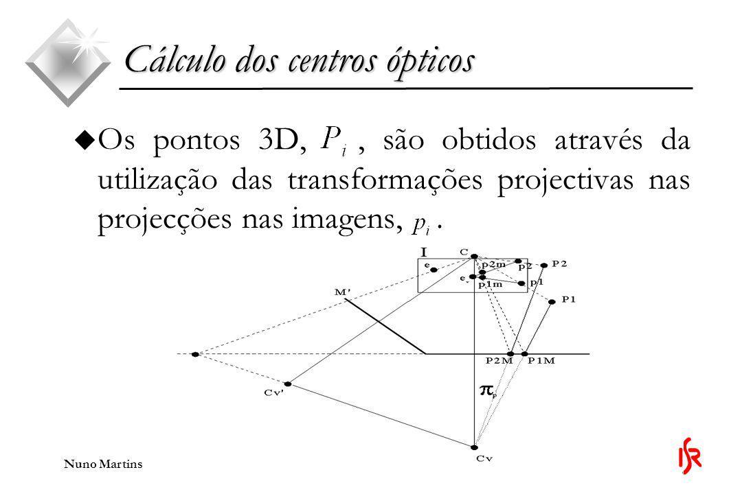 Nuno Martins u Os pontos 3D,, são obtidos através da utilização das transformações projectivas nas projecções nas imagens,.