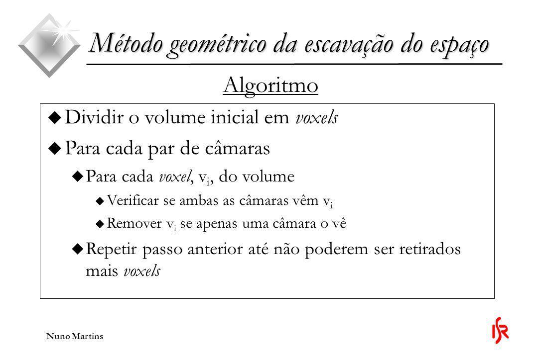 Nuno Martins Método geométrico da escavação do espaço Algoritmo u Dividir o volume inicial em voxels u Para cada par de câmaras u Para cada voxel, v i, do volume u Verificar se ambas as câmaras vêm v i u Remover v i se apenas uma câmara o vê u Repetir passo anterior até não poderem ser retirados mais voxels
