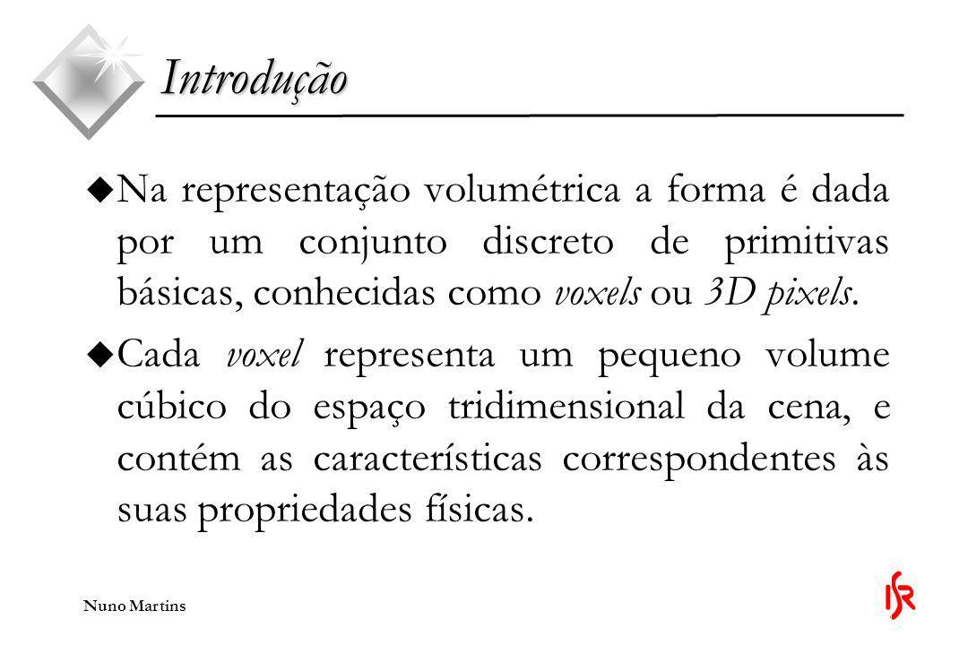 Nuno Martins Introdução u Durante esta apresentação irá ser descrito um modo alternativo ao método de recuperação de formas conhecido como escavação do espaço, ou, em inglês, space carving.