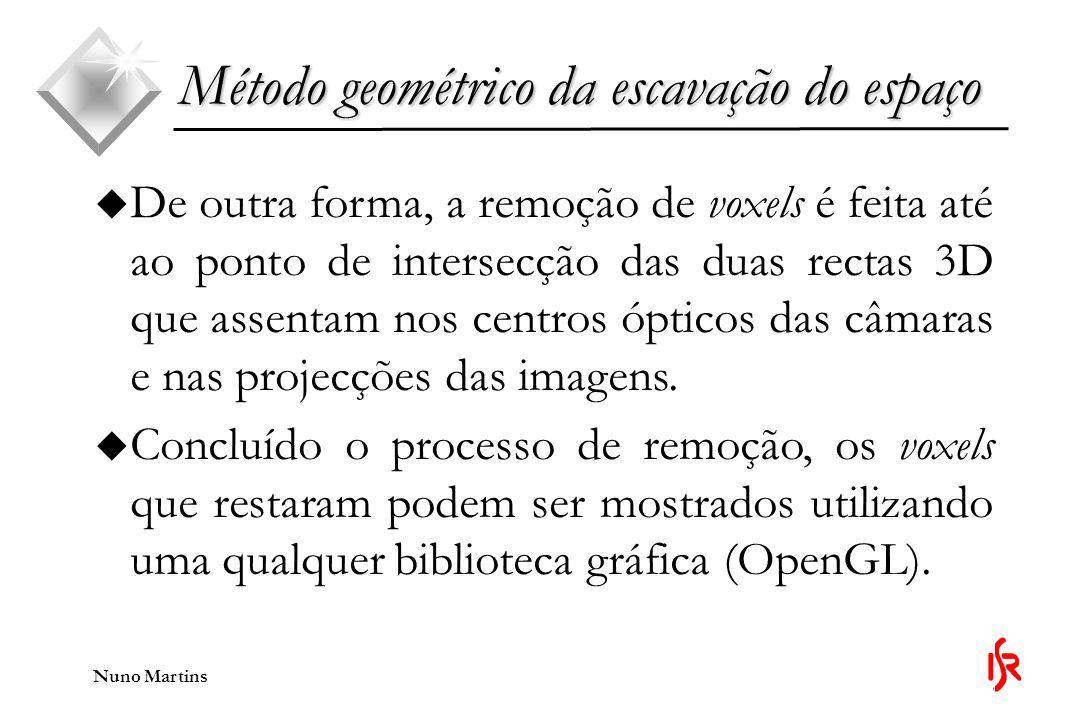 Nuno Martins Método geométrico da escavação do espaço u De outra forma, a remoção de voxels é feita até ao ponto de intersecção das duas rectas 3D que assentam nos centros ópticos das câmaras e nas projecções das imagens.