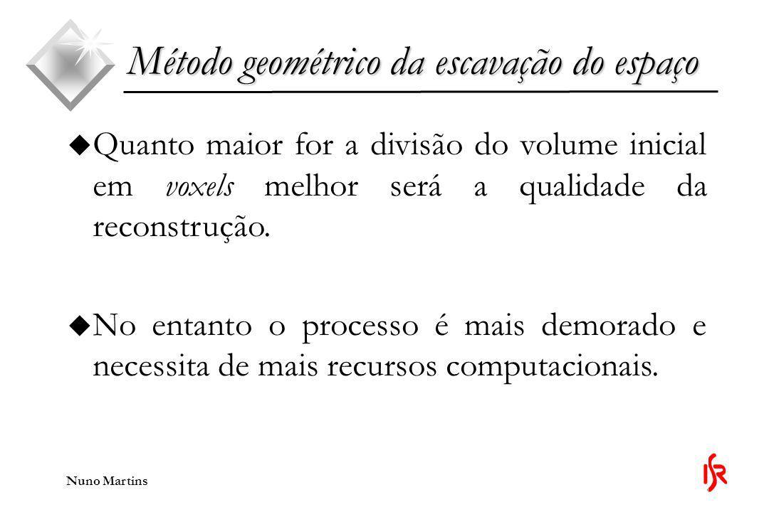 Nuno Martins Método geométrico da escavação do espaço u Quanto maior for a divisão do volume inicial em voxels melhor será a qualidade da reconstrução.