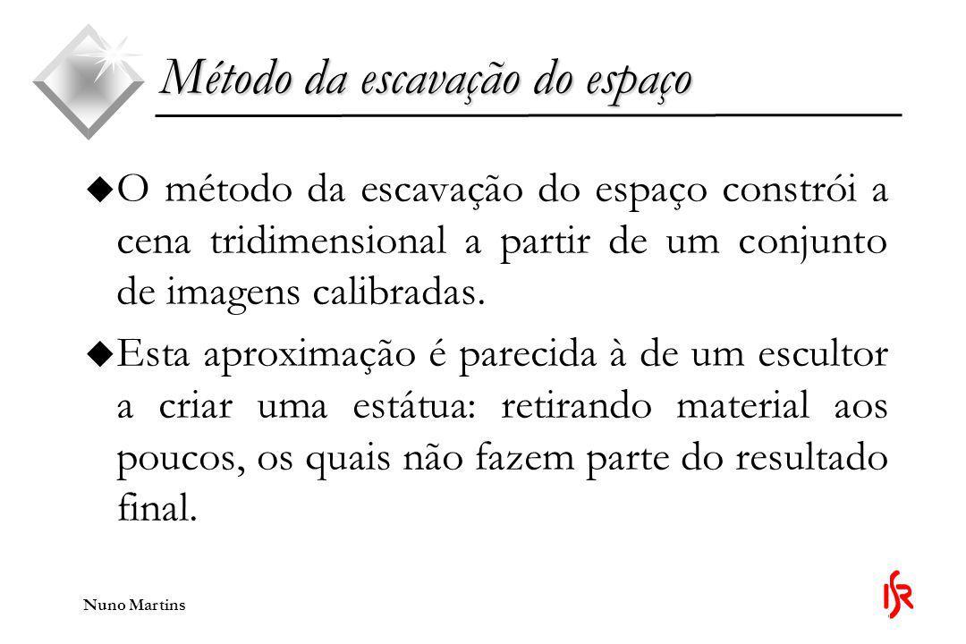 Nuno Martins Método da escavação do espaço u Para começar, é inicializado um volume composto por um conjunto discreto de voxels, o qual envolve toda a cena tridimensional que se quer reconstruir.