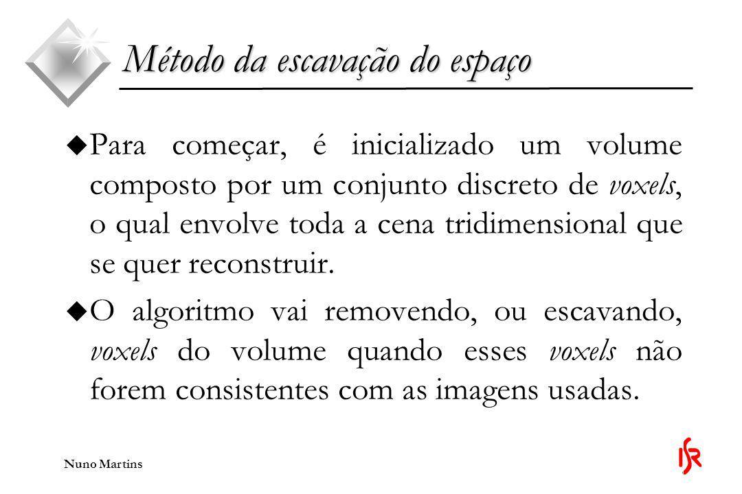 Nuno Martins Método da escavação do espaço u Para modelos de luz que podem ser calculados localmente: u Um volume é consistente com um conjunto de imagens se todos os seus pontos forem consistentes com esse conjunto de imagens.