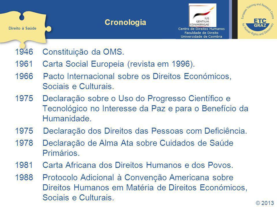 © 2013 Cronologia 1946 Constituição da OMS. 1961Carta Social Europeia (revista em 1996). 1966 Pacto Internacional sobre os Direitos Económicos, Sociai