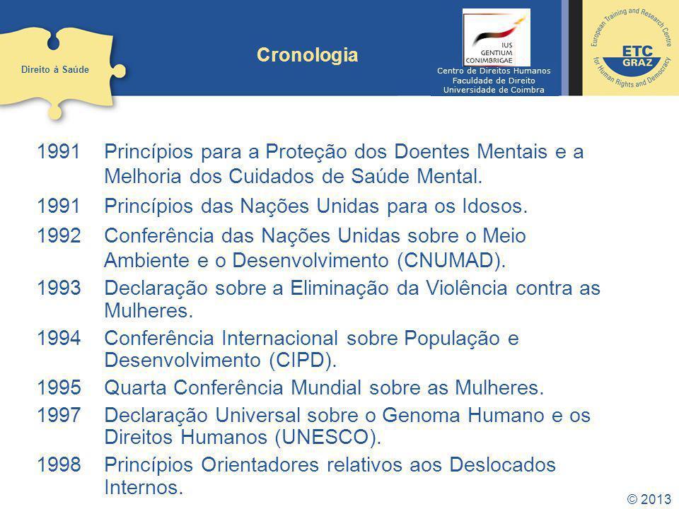 © 2013 Cronologia 1991 Princípios para a Proteção dos Doentes Mentais e a Melhoria dos Cuidados de Saúde Mental. 1991 Princípios das Nações Unidas par