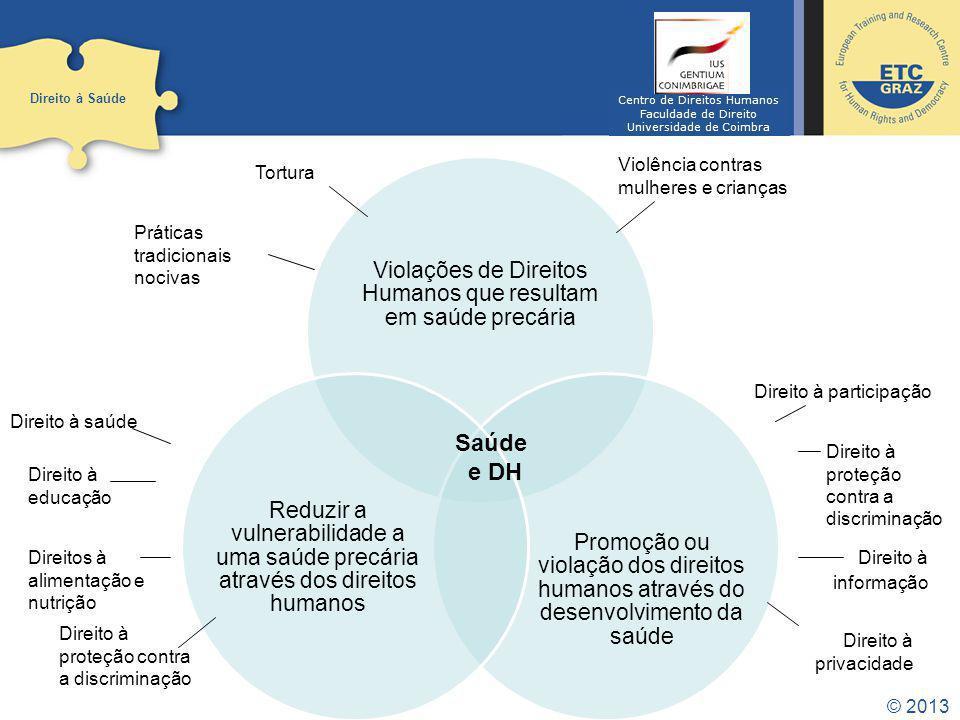 © 2013 Direito à Saúde Saúde e DH Práticas tradicionais nocivas Tortura Violência contras mulheres e crianças Direito à participação Direito à proteçã
