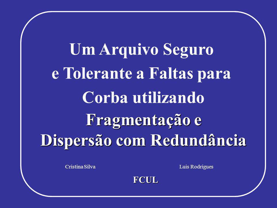 Indice Cristina Silva - FC/UL Fragmentação e Dispersão com Redundância Luis Rodrigues - FC/UL