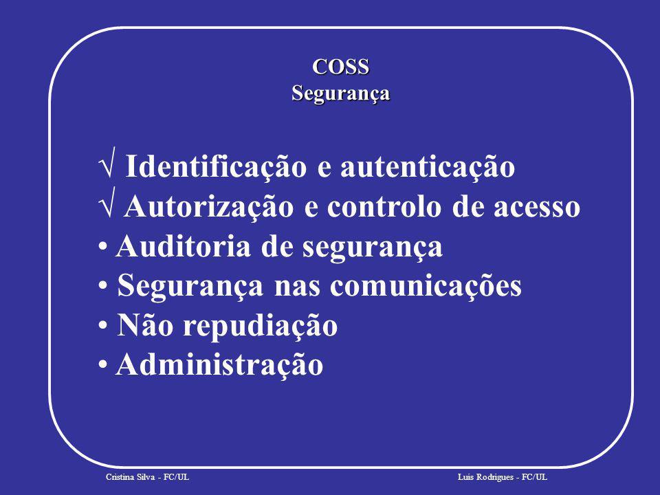COSSSegurança Cristina Silva - FC/UL Identificação e autenticação Autorização e controlo de acesso Auditoria de segurança Segurança nas comunicações Não repudiação Administração Luis Rodrigues - FC/UL