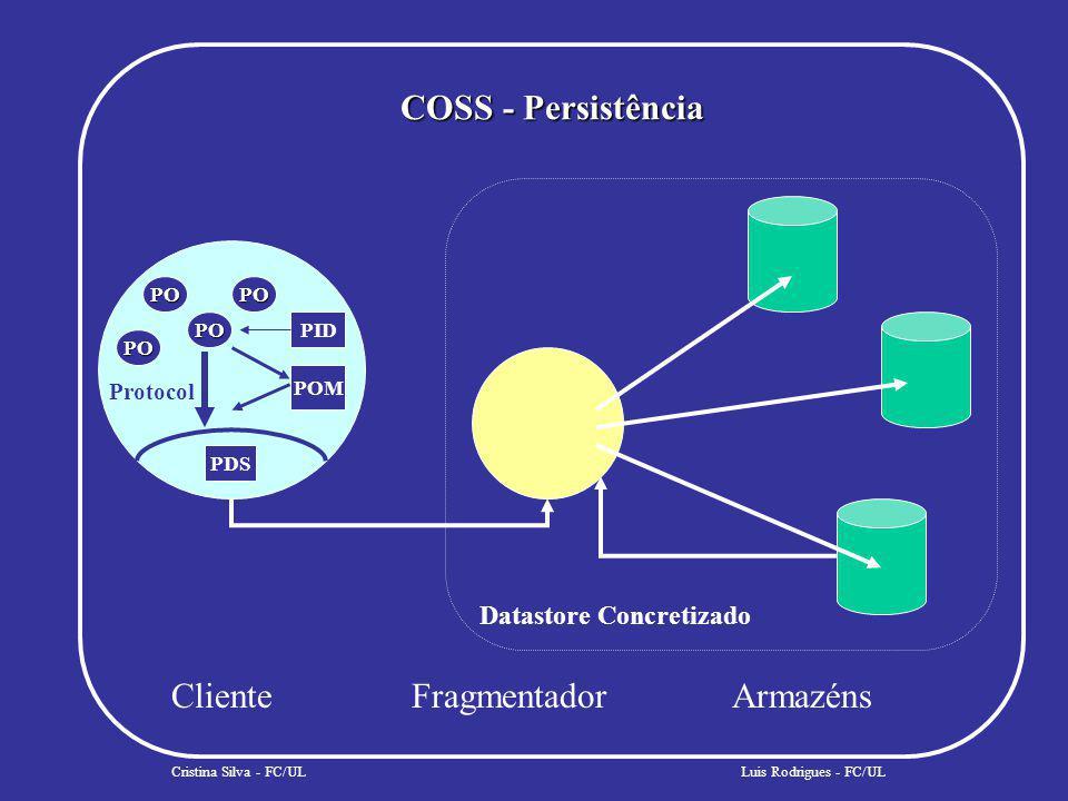 COSS - Persistência Cristina Silva - FC/UL ClienteFragmentadorArmazéns PO PO PO PO PID POM PDS Protocol Datastore Concretizado Luis Rodrigues - FC/UL