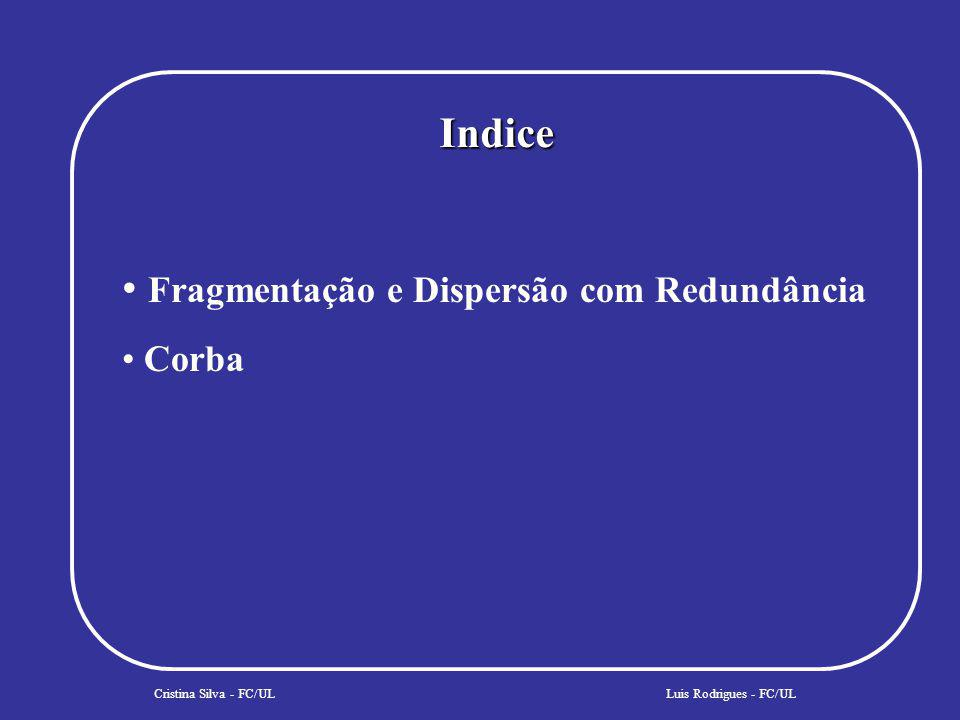 Indice Cristina Silva - FC/UL Fragmentação e Dispersão com Redundância Corba Segurança Luis Rodrigues - FC/UL