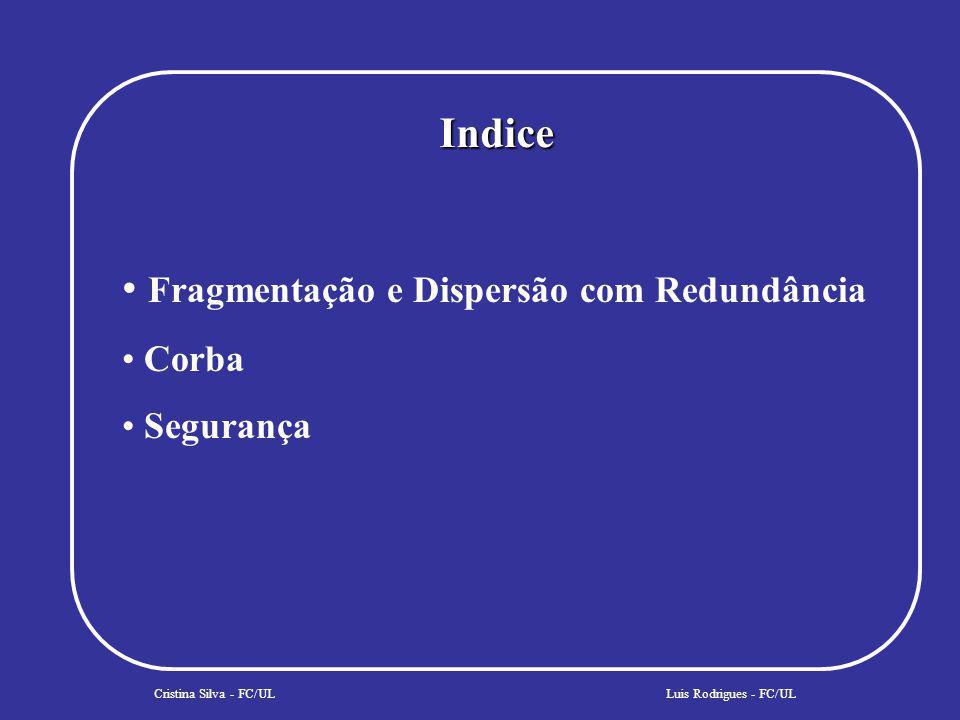 Indice Cristina Silva - FC/UL Fragmentação e Dispersão com Redundância Corba Segurança Persistência Luis Rodrigues - FC/UL