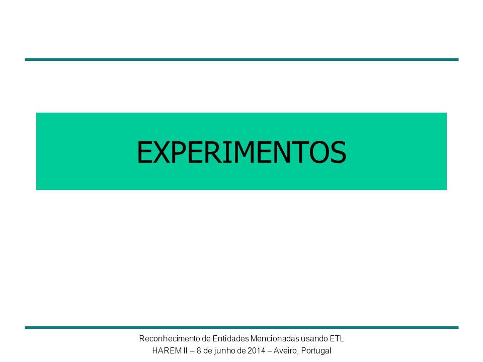 Reconhecimento de Entidades Mencionadas usando ETL HAREM II – 8 de junho de 2014 – Aveiro, Portugal EXPERIMENTOS