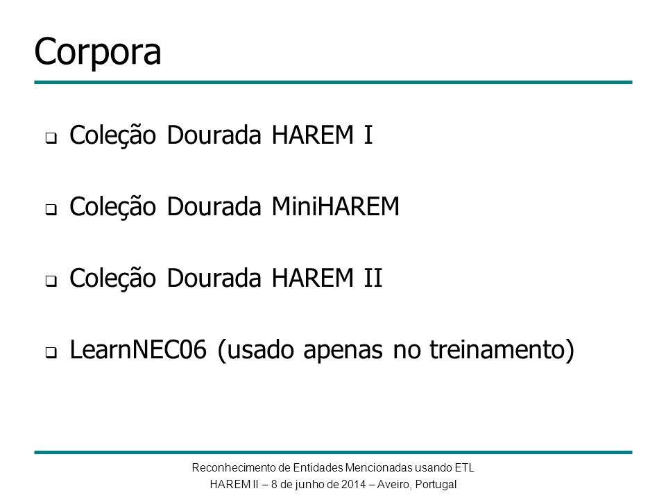 Reconhecimento de Entidades Mencionadas usando ETL HAREM II – 8 de junho de 2014 – Aveiro, Portugal Corpora Coleção Dourada HAREM I Coleção Dourada Mi